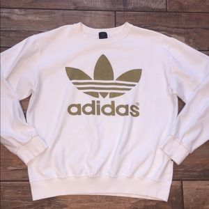 Authentic Adidas sweatshirt white with gold Sz. M